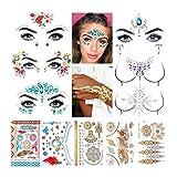Luckyfine Gemas de Cara, 6 piezas de Gemas Faciales y 5 piezas de Tatuajes Temporales Pegatinas, Joyas Adhesivas para la Cara, Joyas con Purpurina para Fiestas Musicales, Espectáculos y Maquillaje