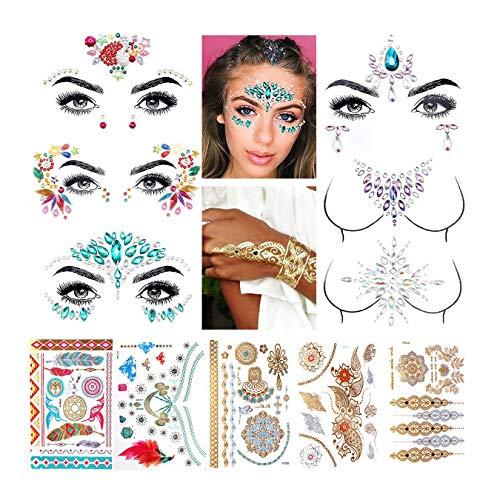 Luckyfine Gesicht Edelsteine, 6 Stück Gesicht Schmucksteine & 5 Stück Aufkleber Temporäre Tattoos, Selbstklebend Gesichtsschmuck, Gesicht Glitzerschmuck für Musikpartys, Shows, Make-up