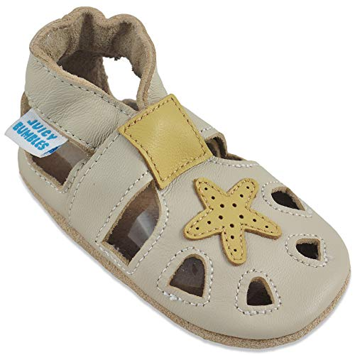 Baby Sandalen - Lauflernschuhe - Krabbelschuhe - Babyschuhe - Beige Seestern 12-18 Monate (Größe 22/23)