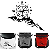 Car Decals, Compass with Mountain Car Body Stickers for Men, Waterproof Vinyl Hood Decal Auto Graphics Truck Decals, Cool Stickers for Jeep Wrangler SUV Ford Decoration