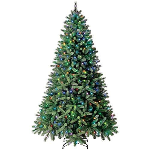 Evergreen Classics 7.5 ft Color Blast Pre-Lit Washington Spruce Quick Set Artificial Christmas Tree, Remote-Controlled Multicolor Lights