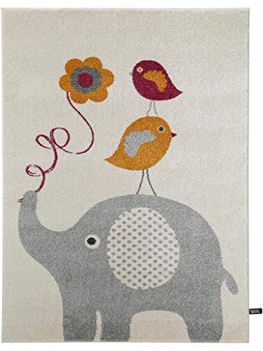 benuta Kinderteppich Birdies and Elephant Orange 80x150 cm | Teppich für Spiel- und Kinderzimmer