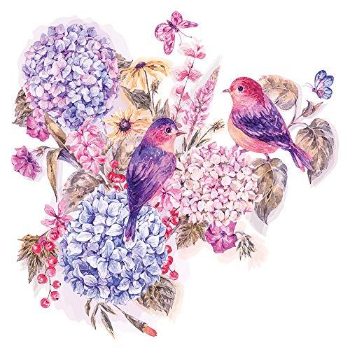 dekodino® Wandtattoo Blumen Aquarell Blumenstrauß mit Vögeln lila Wandsticker