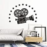 JXFM Vinyl Wandtattoo Kamera Video Abnehmbarer Wandaufkleber Kino Theater Dekoration Filmkamera...