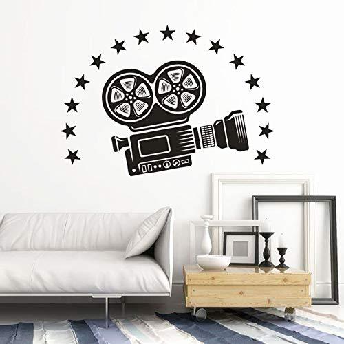 Kamera Video Abnehmbare Wandaufkleber Kino Theater Dekor Film Kamera Projektor Mit Sternen Tapete Wandtattoos andere Farbe 57x41cm