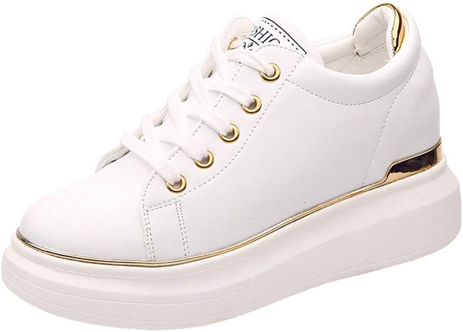 Btrada Spring Autumn White Sneakers shoes Women Casual Hidden Wedges Thick Heels Ladies Platform shoes