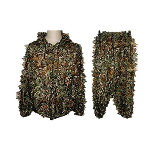 Tenue Camouflage Ensemble Veste à Capuche et Pantalon Camouflage avec 3D Maple Leaf Bionic Ghillie Costumes Vêtements de Chasse Veste Yowie Sniper Birdwatch Airsoft Camouflage Veste et Pantalon