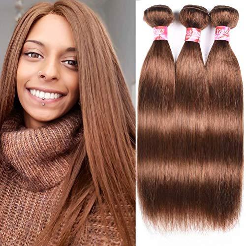 XCCOCO Hair 4# Hair Weave Medium Brown Hair Bundles Deal Brazilian Pure Color Silk Remy Straight Hair Bundles 8a 300g/set(4#,Light Brown,20 20 20inch)