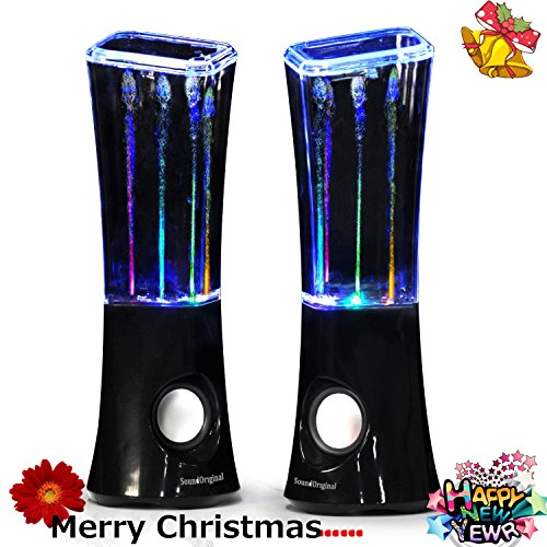 SoundOriginal 2016 Dancing Water Speakers - 4 Led Light Show Fountain Stereo Speakers (Black)