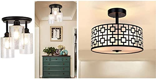 wholesale DLLT Modern online Semi Flush Ceiling Light Fixture, Ceiling Drum Light and high quality 3-Light Vintage Ceiling Light with Clear Seeded Glass Shade for Dining Room/Bedroom/Living Room/Hallway/Kitchen/Entryway sale