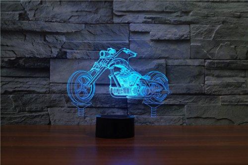 HYSENM Lampe Nachtlampe Nachtlicht LED 3D Acryl cool für Kinder Jungen-Serie, Motorrad