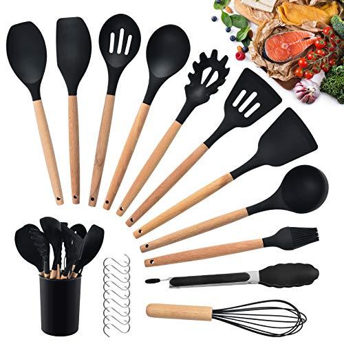 HALOVIE Set di 12 Utensili da Cucina in Silicone Set di Spatole Antiaderenti Mestoli per Cucina con Manico in Legno con Contenitore per Spaghetti Polpettine