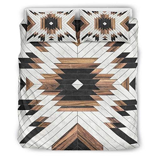 Daiyyjunn Aztec Wood Pattern Bedding Set - 3 Comfortable Bedding 3D Print Duvet Cover with Zip Includes 1 Duvet Cover & 2 Pillowcases Single White 264 x 229 cm
