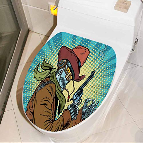 Toilet Seat Wall Sticker Western Style Robot Cowboy 3D Wall Stickers Self Adhesive for Washroom Bathroom Shower Room Decors, W30xH36 cm