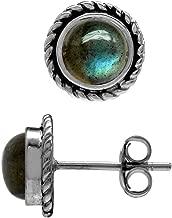 Silvershake 6mm Natural Round Shape Gemstone 925 Sterling Silver Rope Stud Earrings