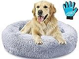Akcmpet Cuscino Cane Grande, Cuscino per Cani Rotondo con 1 Guanto da Toelettatura, Cuccia per Cani e Gatti da Interno in Finta Pelliccia,80cm (32') Cuccia Cane, Grigio Chiaro - XL(80cm)