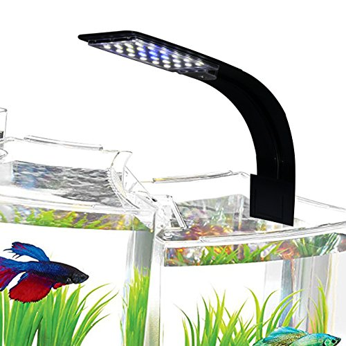 IC INSTANT COACH 10W Super Slim Aquarium Fish Tank 5730 LED Light Clip-on Lamp Aquatic Plant Lighting (Black Body White+Blue Light)