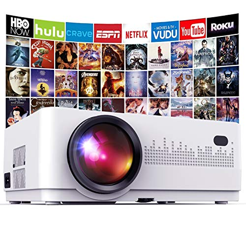 DBPOWER L21 LCD Video Projector, 6000L 1080P Supported Full HD Projector Mini Movie Projector with HDMIx2/USBx2, Compatible with Chromecast/TV Stick/Smart phone/PC/Laptop/PS4/DVD[Latest Upgrade]