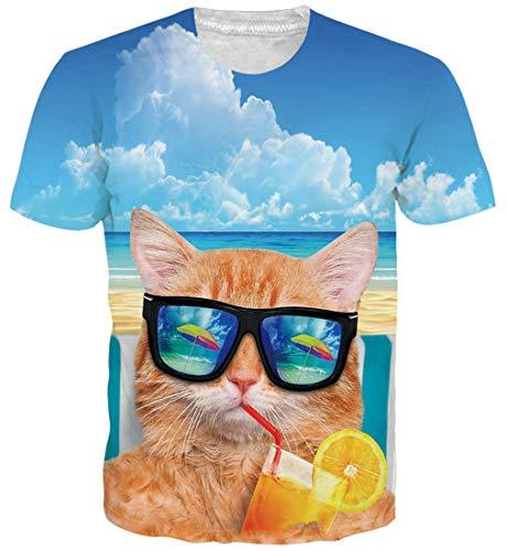 Goodstoworld Unisexe Tee Shirt Imprimé 3D Manches Courtes T-Shirts - pour Homme et Femme, Cat Drink...