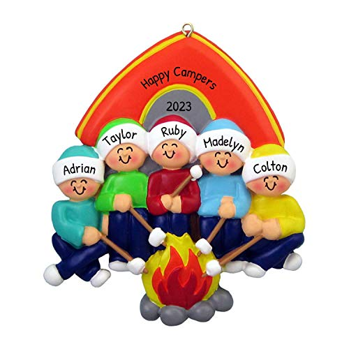 Personalized Camping Family of 5 Christmas Ornament for Tree 2018 - Camper Parents Children Friends Roasting Marshmallow Camp Fire Tent Outdoor Activity Vacation - Free Customization by Elves (Five)