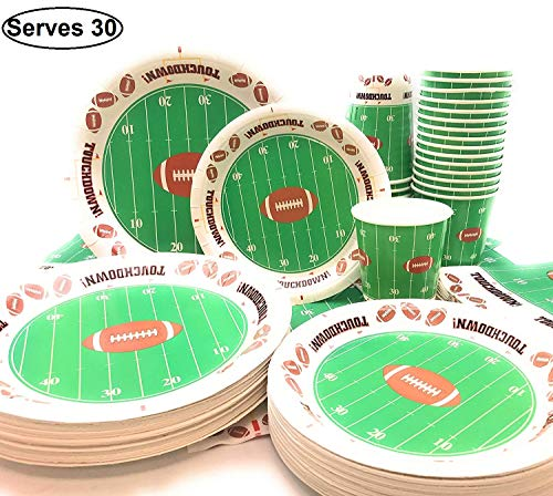 Football Theme Touchdown party supplies for 30 Guests, Includes 30-7' Snack/Dessert Plates, 30-9' Dinner Plates, 30 - Napkins, 30 Cups, Ideal for Football Games, Birthday Party, Super Bowl