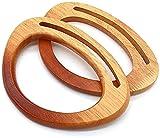 POFET 2 asas decorativas en forma de D con gradiente, asas con forma de madera para bolsos hechos a mano, bolsos, asas, herramientas de repuesto para bricolaje, accesorio hecho a mano, color madera