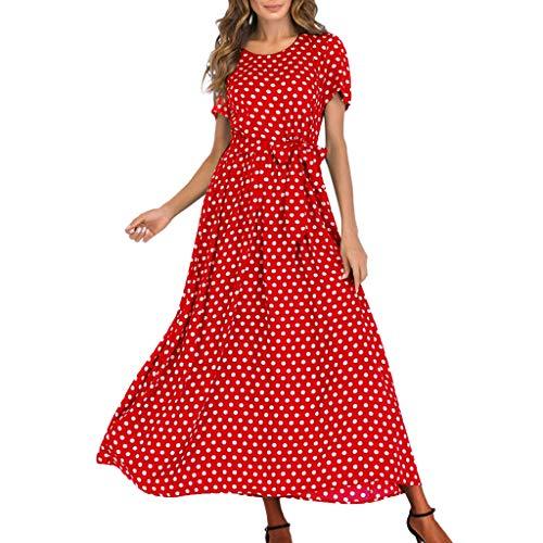 MRULIC Schönes Kleid Elegant Abendkleid Damen Cool Sundress Schöne Boho Tupfendruck Kleider Frauen Sommer Lange Maxi Kleid