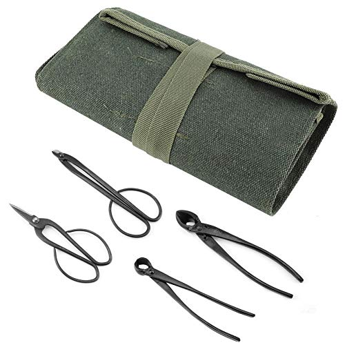 Bonsai Trimming Set - Multifunktionale Werkzeugaufbewahrungstasche aus Segeltuch mit Trimmset for Gartenpflanzen, 4-tlg. Bonsai Crafting Trimming Tool Set