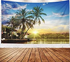 Asdecmoly Boho Wall Decor, Tapestry Wall Hanging Living Room Bedroom 80 Lx60 W Inches River Beautiful Sunrise Tropical Palms Art Printing Inhouse