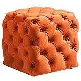 Quadratischer Ottoman-Fußhocker, Schminkhocker, Schminkhocker, dekorativer niedriger Hocker mit Rutschfester Auflage für Schlafzimmerveranda (Color : Orange, Size : 45 * 45 * 45cm)