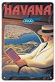 Havana, Cuba - Pan American Airways (PAA) - Vintage Airline Travel Poster by Kerne Erickson - Master Art Print 9in x 12in