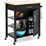 Best Choice Products Portable Kitchen Island Storage Cocktail Cart w/Wood Top, Wine Shelf, Cabinet, Drawer, Towel Rack