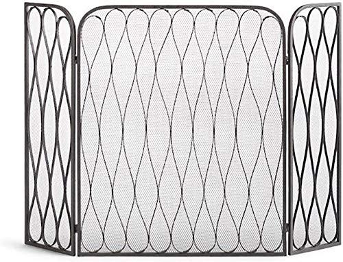 Spark Guard, estilo japonés, negro, 3 paneles, pantalla para chimenea, protector contra chispas, cubierta protectora con malla, valla de seguridad pa