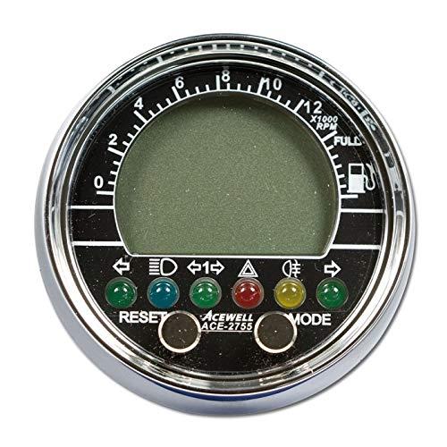 ACE-2755 Multifunktionelles Motorrad Digitalinstrument, chrom, Einbau-Tacho, Drehzahlmesser, Uhr/Stück