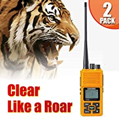【Build for Advanture】: Reinforced bright colored case, weather proof construction, extended 190 hour battery life and lightweight design. This Two-Way Radio is built for your wildest advanture. 【Bright LCD Screen and HD Sound】: View your device statu...