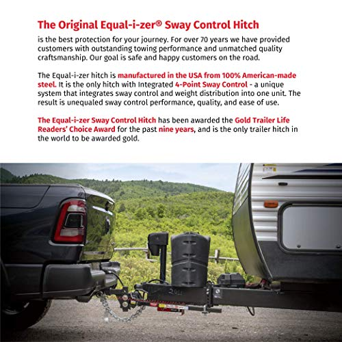 Equal-i-zer 4-point Sway Control Hitch, 90-00-1069, 10,000 Lbs Trailer Weight Rating, 1,000 Lbs Tongue Weight Rating, Weight Distribution Kit Includes Standard Hitch Shank and 2-5/16' Ball