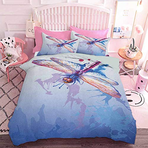 Hiiiman Premium Bedding Collection Colorful Purple Moth Watercolored Design with Abstract Grunge Blue Ombre Print (3pcs, Twin Size) 3pc Duvet Cover Set