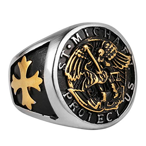AsAlways Catholic Gifts St Michael The Archangel Latin Prayer Ring Christian Faith Jewelry