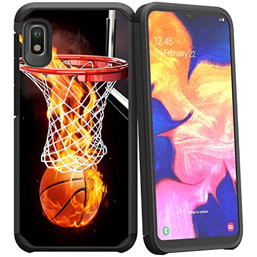 Compatible with Samsung Galaxy A10e / Samsung Galaxy A20e   Rugged Hybrid Dual Layer Defender Shock Bumper Case by Untouchble - Basketball Fire