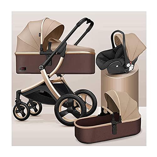 ZCZZ Cochecito de bebé Sistema de Viaje 3 en 1 Cochecito de bebé Compacto con Cesta de bebé y Saco, Cochecito de bebé recién Nacido Muelles de absorción de Golpes Cochecito de bebé con Vista Alta