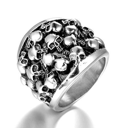 Ring mannen vrouwen Eenvoudige Titanium Steel Heren Meerdere Skull Creative Punk Persoonlijkheid Ring Gothic Ring Punk Finger Jewelry Gift Punk Biker voor heren (Color : Silver, Size : 10)