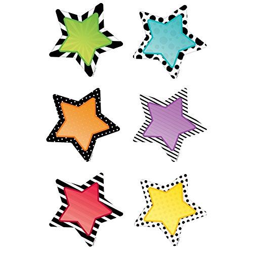 Creative Teaching Press Bold & Bright Stars 3' Designer Cut-Outs (Use as Calendar Days, Accenting Bulletin Boards and More!) (8091)