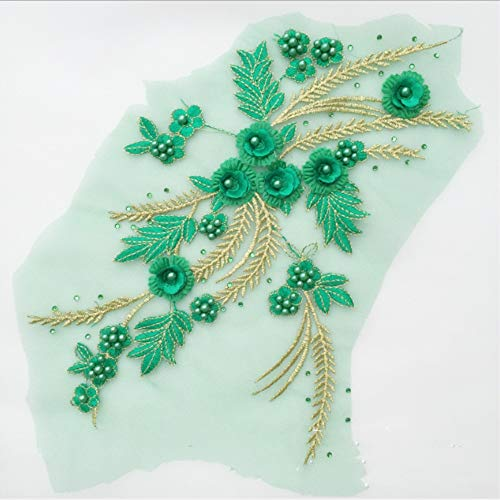 3D Floral Applique, COLINKIND Lace Sewing Beaded Embroidery Diamond Motif Craft for Cloth Gown Dress Decor (Green)
