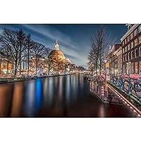 5DDIYダイヤモンドペインティング-夜の街の風景-ウォールアートデコレーションクロスステッチフルダイヤモンド40 * 50cm