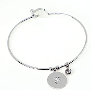 5 Bijoux FP Bracelet Rigide Coeur Strass Bleu Pour Charm Européen Cadeau 22cm