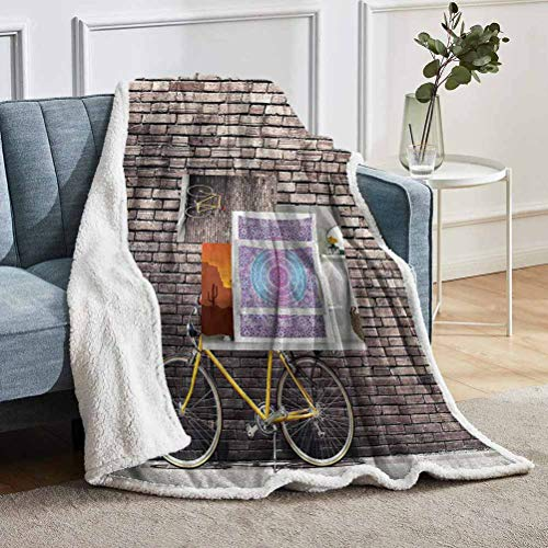 YUAZHOQI Bicycle Throw Blanket for Couch Sofa Retro Bicycle on Wall for Bed Couch and Living Room 50' x 60'