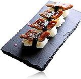4X Piatto 20x30 cm in Pietra Ardesia Nera Naturale Antipasti Piatti Solido Quadrato Bistecca di Sushi Barbecue Barbecue Tapas Piatto Pintxos Sottobicchiere per la casa Bar Cucina Presentazione