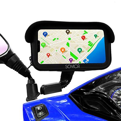 """Porta cellulare moto scooter Impermeabile custodia protettiva valido per smartphone fino a 7,2\"""" Visiera antiriflesso fissaggio allo specchietto retrovisore infrangibile porta telefono moto"""