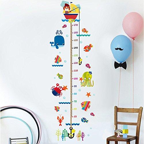 Kinder Messlatte,Kätzchen Angeln Kind Baby Messung der Herrscher Dekoration Kinderzimmer Kindergarten abnehmbare Marine Home Wand Dekoration PVC