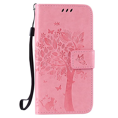Guran® Funda de Cuero para Samsung Galaxy J5 (2015 Version, 5.0 Pulgadas) Smartphone Función de Soporte con Ranura para Tarjetas Flip Case Cover-Rosa